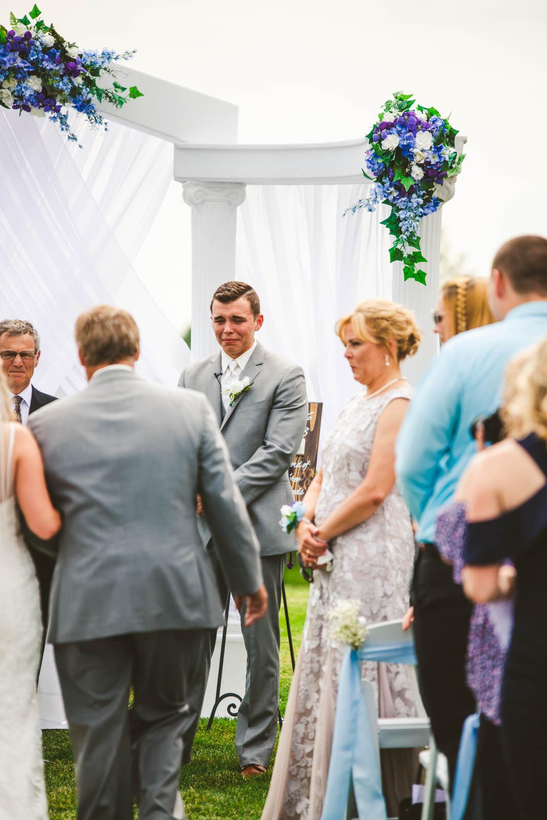 Groom Awaits Bride at Stone Ridge Golf Club for Wedding Day in Bowling Green Ohio