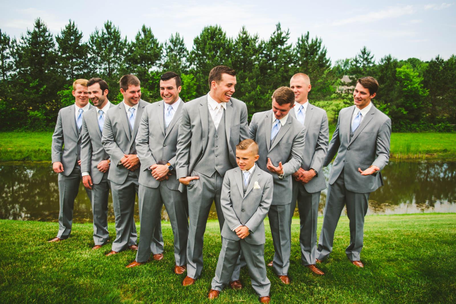 Groomsmen at Stone Ridge Golf Club on Wedding Day in Bowling Green Ohio with Toledo Wedding Photographers