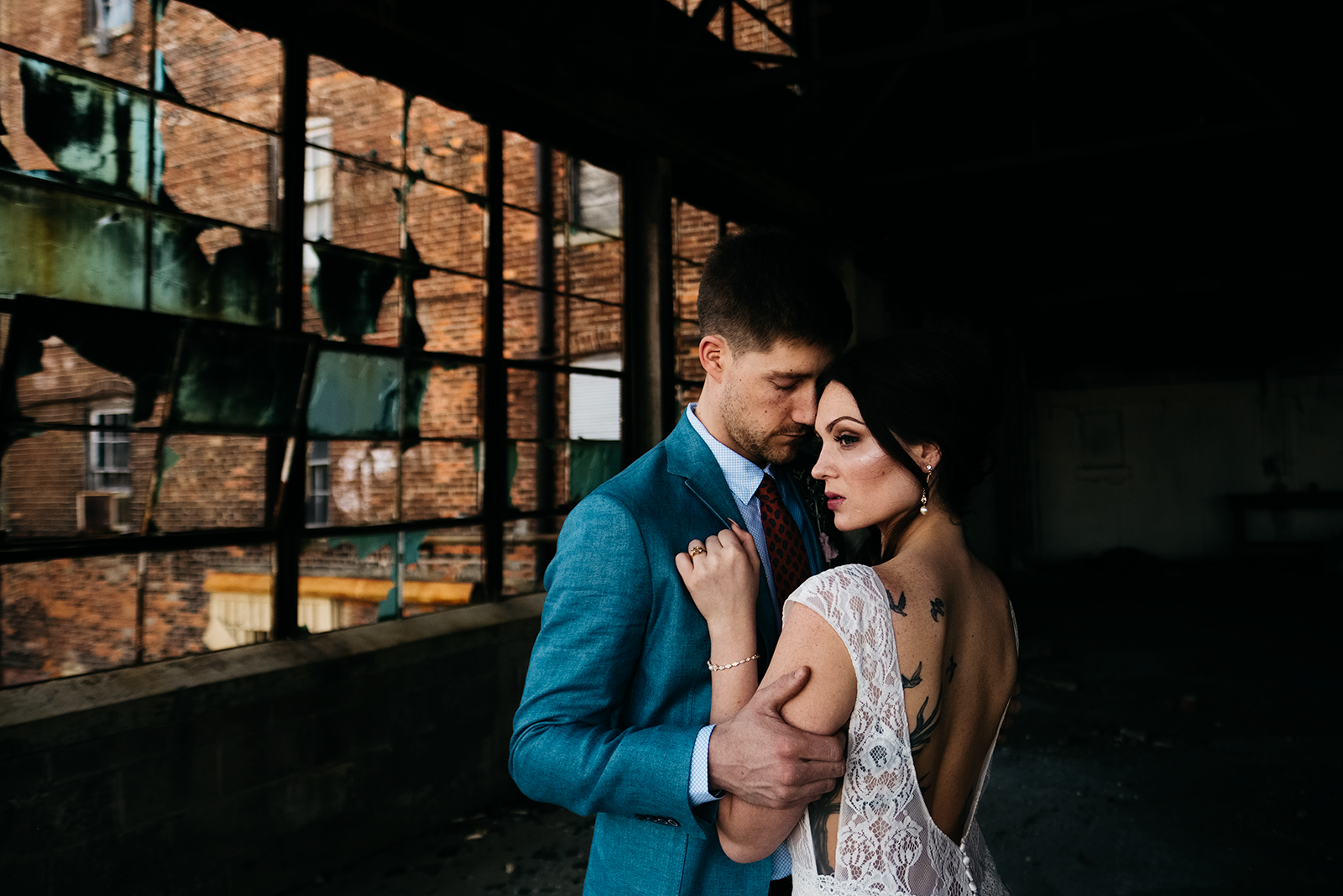 Bride and Groom pose at Great Lakes Event Center in Toledo, Ohio