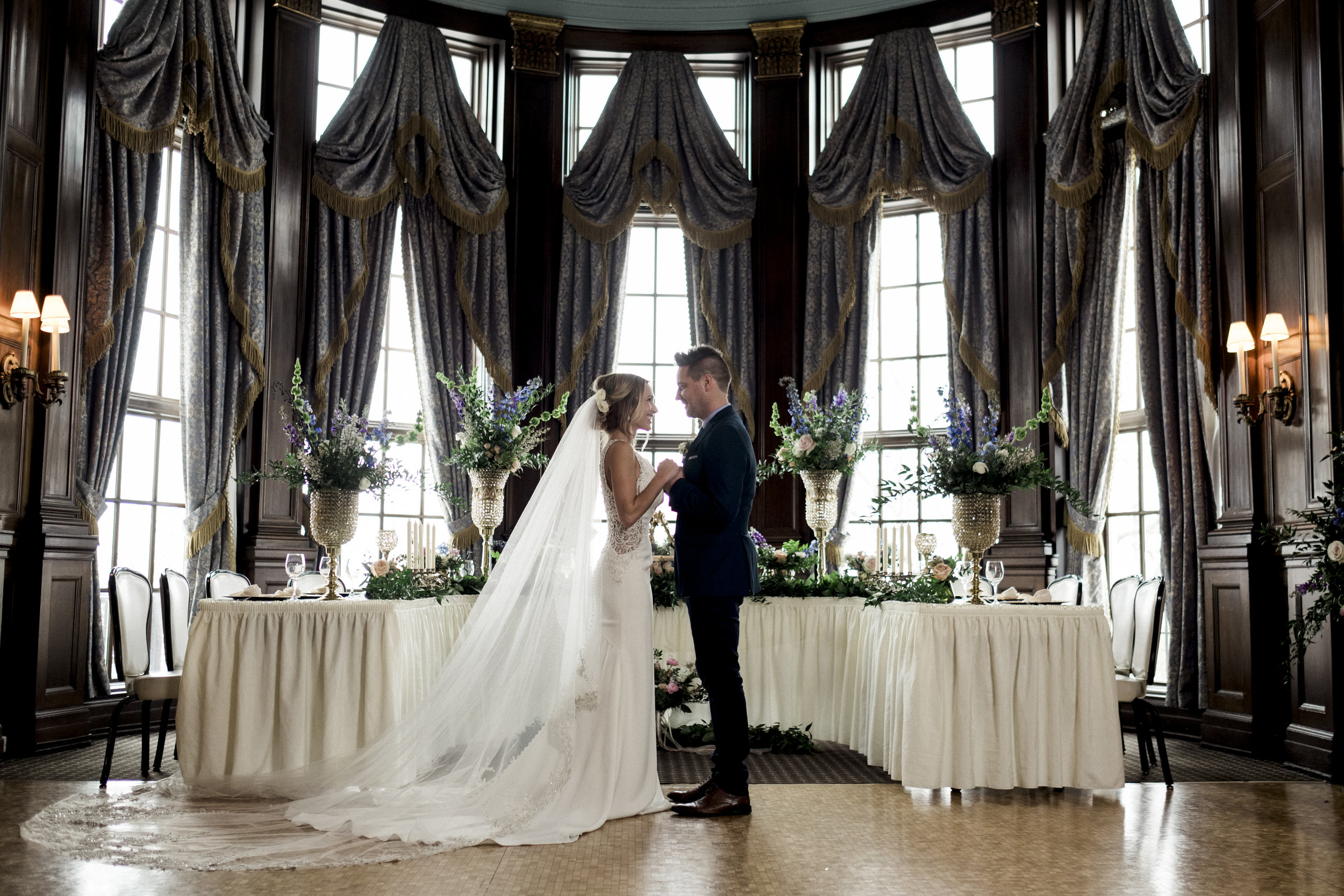 Bride and Groom at Styled Shoot with Toledo Wedding Photographers
