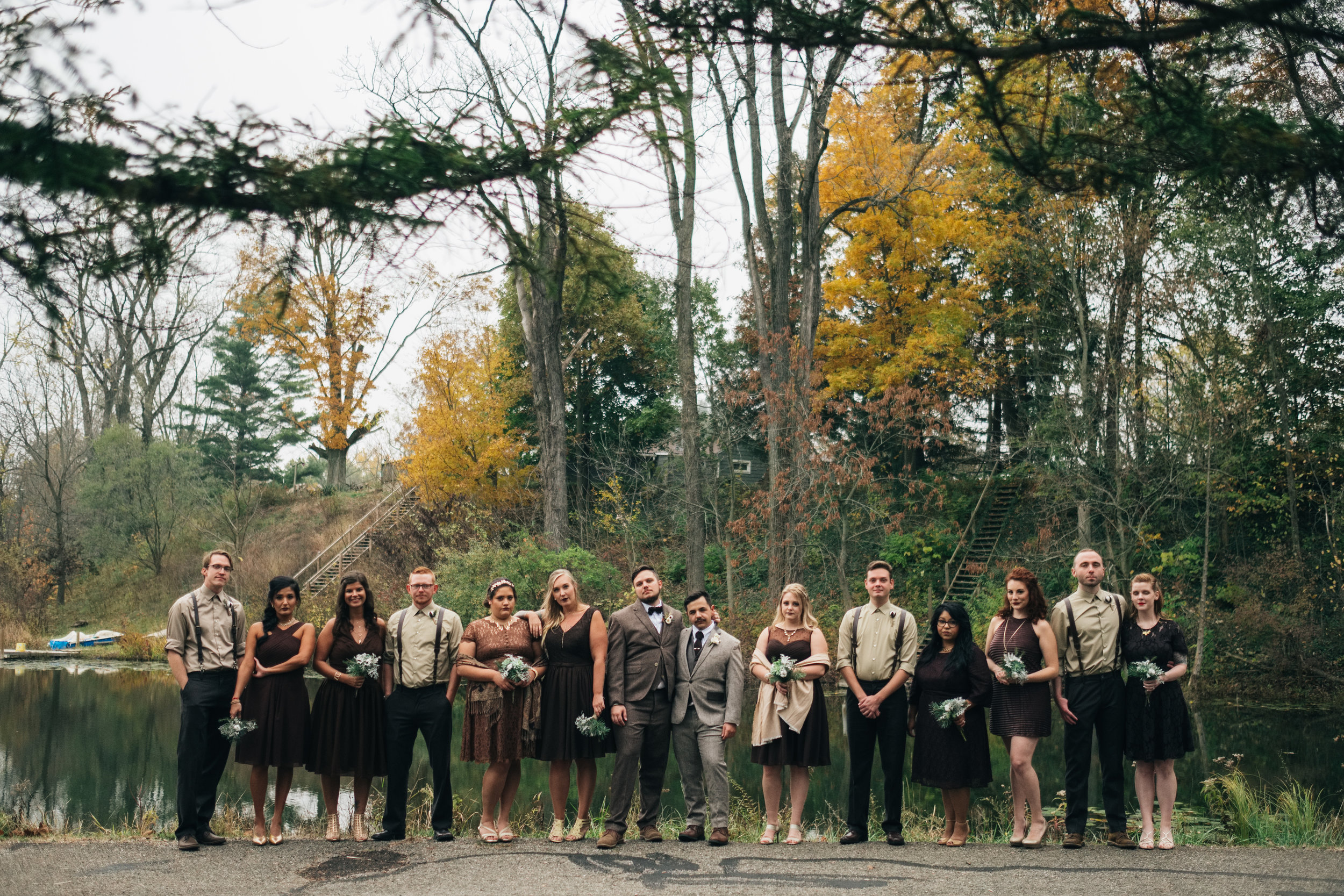 Bridal Party at Same Sex Wedding in Michigan with Toledo Wedding Photographers