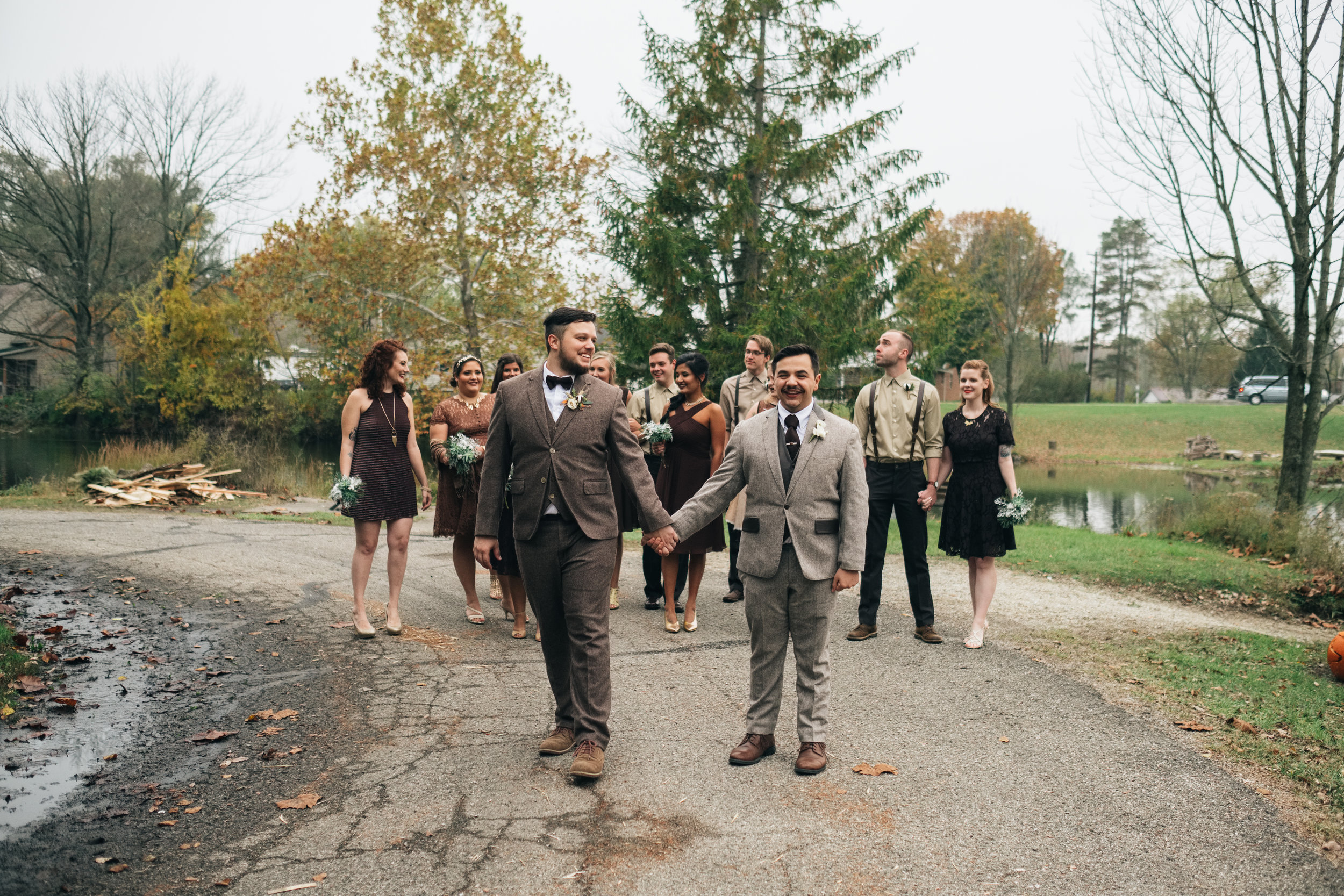 Same Sex Couple and Bridal Party on Wedding Day with Toledo Photographers in Michigan