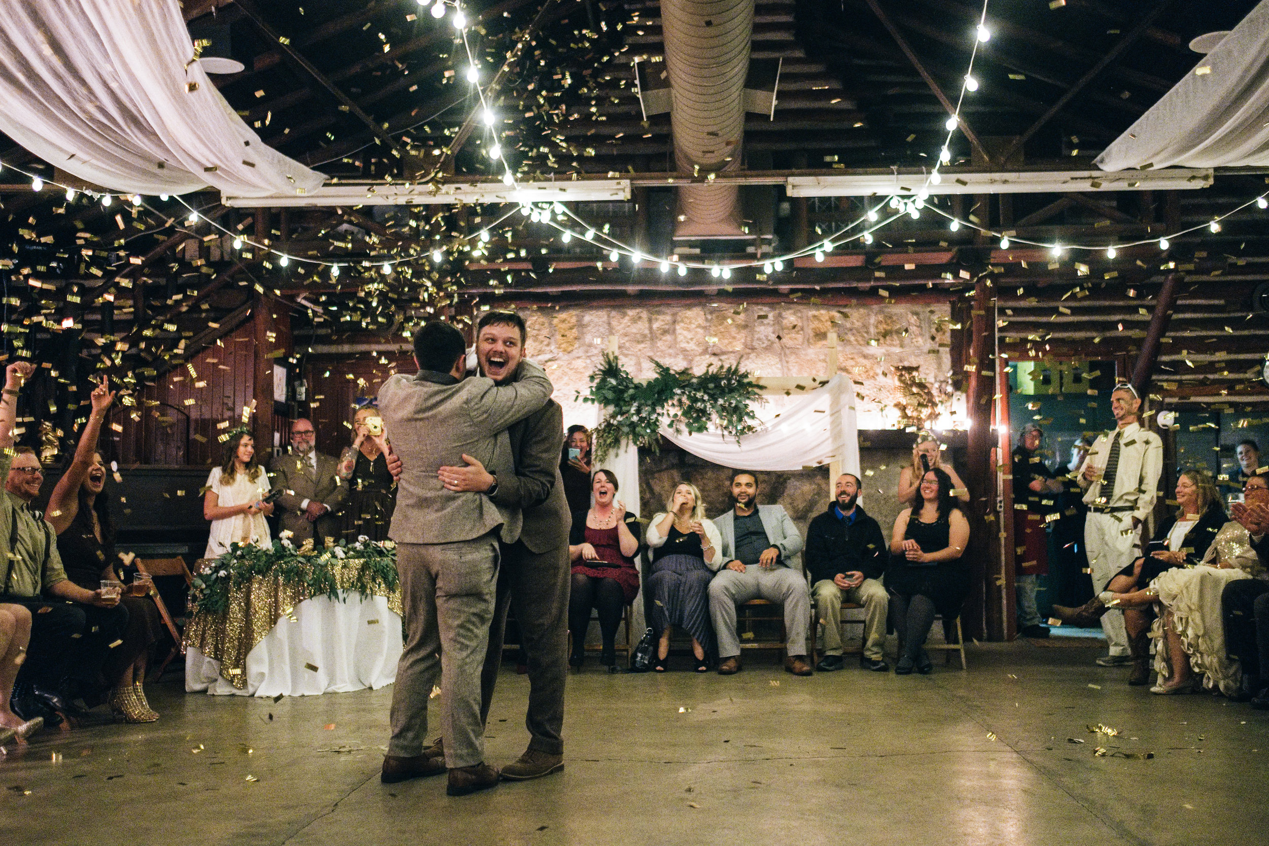 Same Sex Couple Shares First Dance at Wedding Reception with Toledo Ohio Wedding Photographers