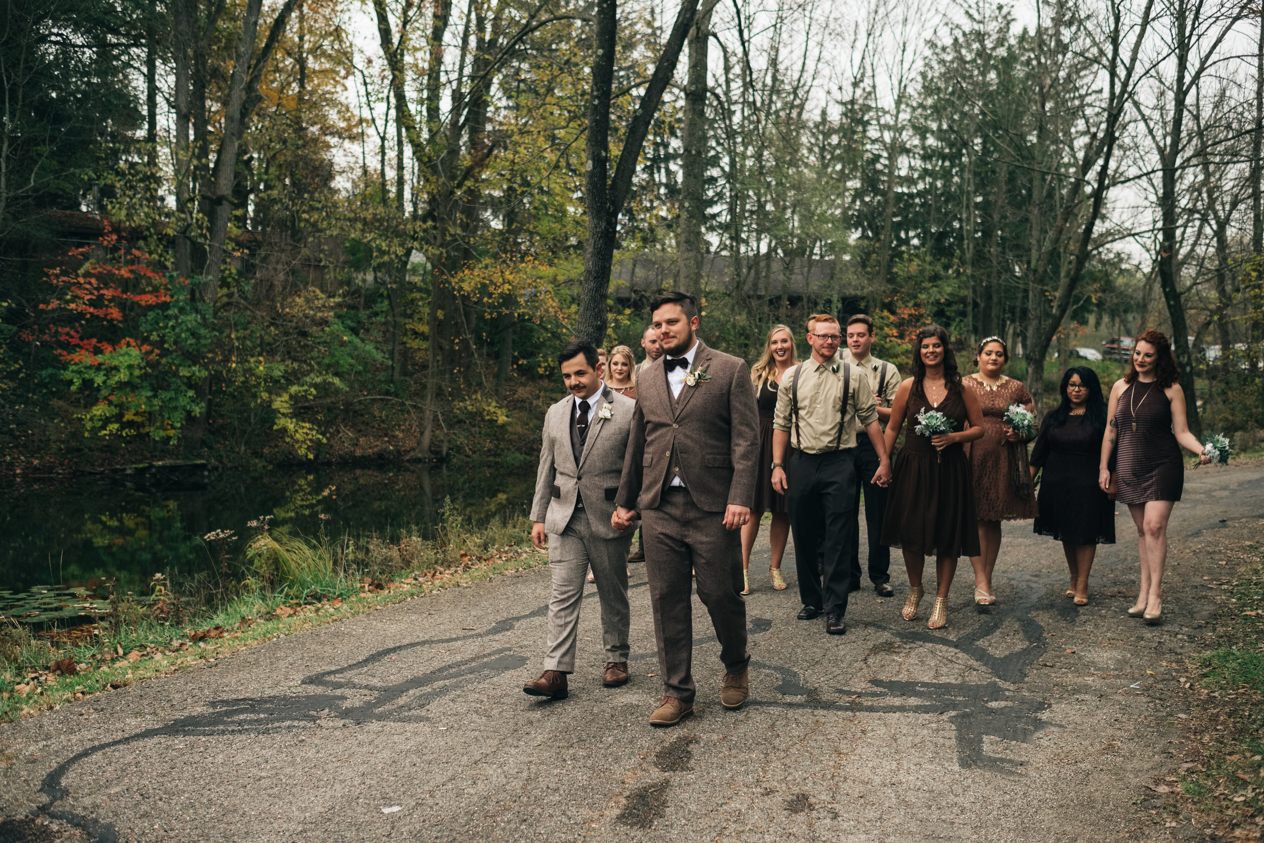 Toledo Wedding Photographers with Same Sex Couple and Bridal Party at Wayne Lakes Michigan