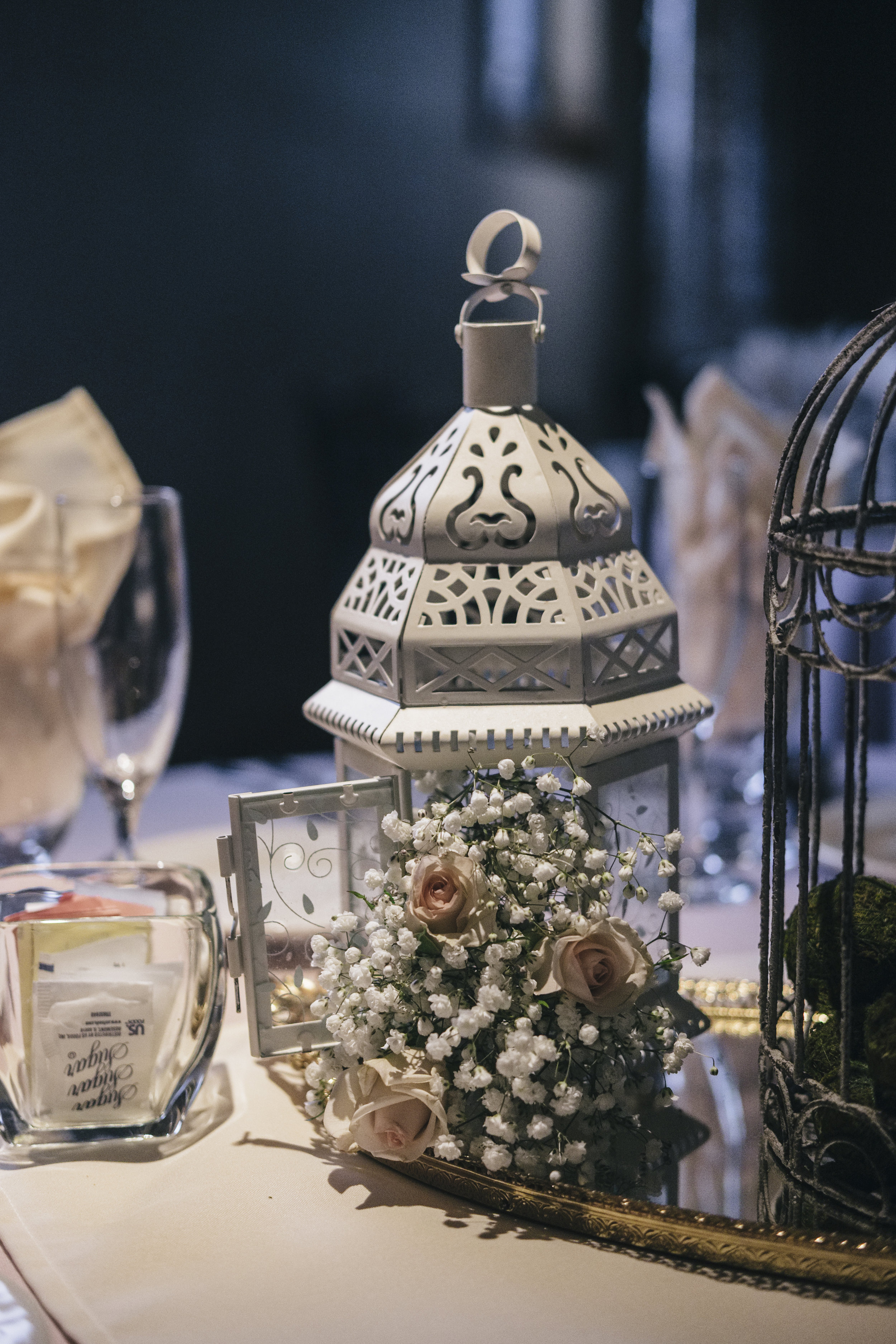 Wedding Table Decor at Reception with Toledo Wedding Photographers and Floral Designs from La Boutique Nostalgie