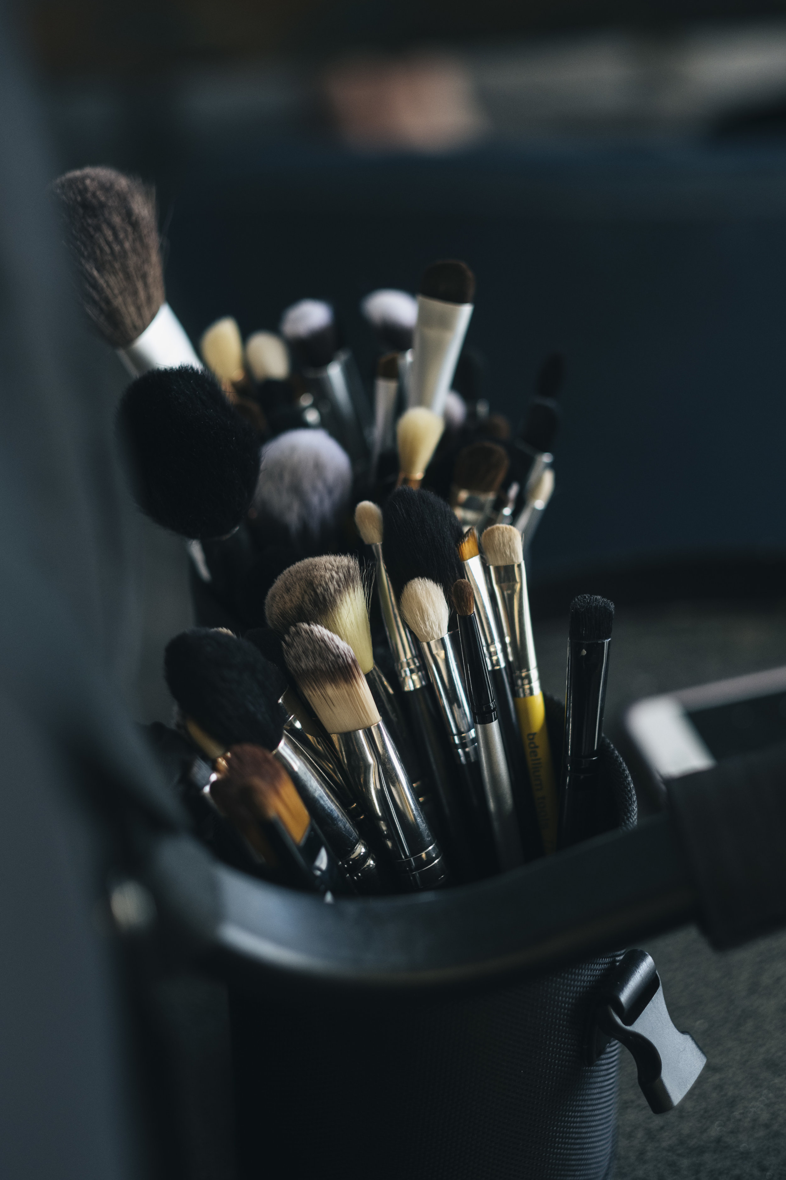 Makeup Brushes and Supplies on Wedding Day in Toledo Ohio