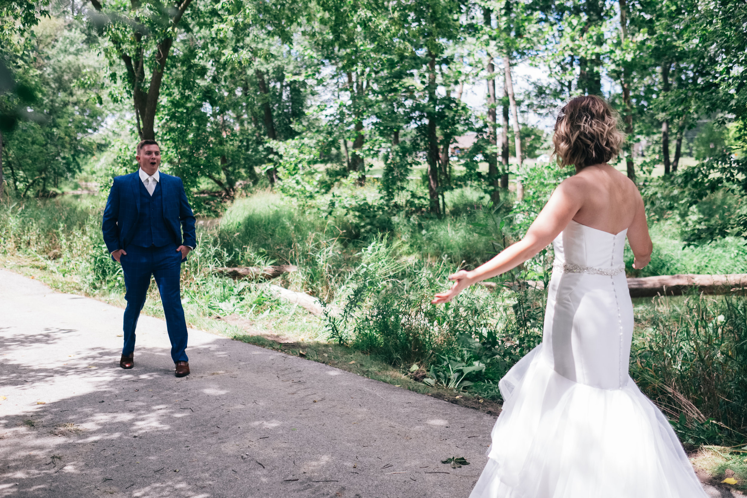 Groom Excited to see Bride for the First Look on Wedding Day with Photographers from Ohio