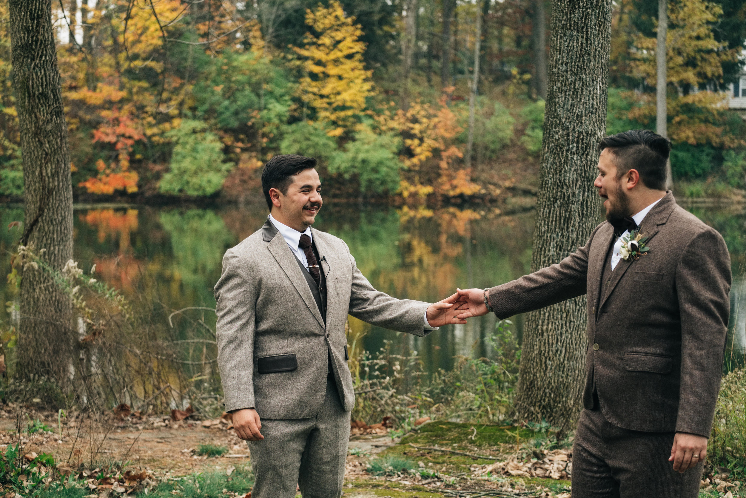 Same Sex Couple Shares First Look on Wedding Day in Ohio With Toledo Wedding Photographers