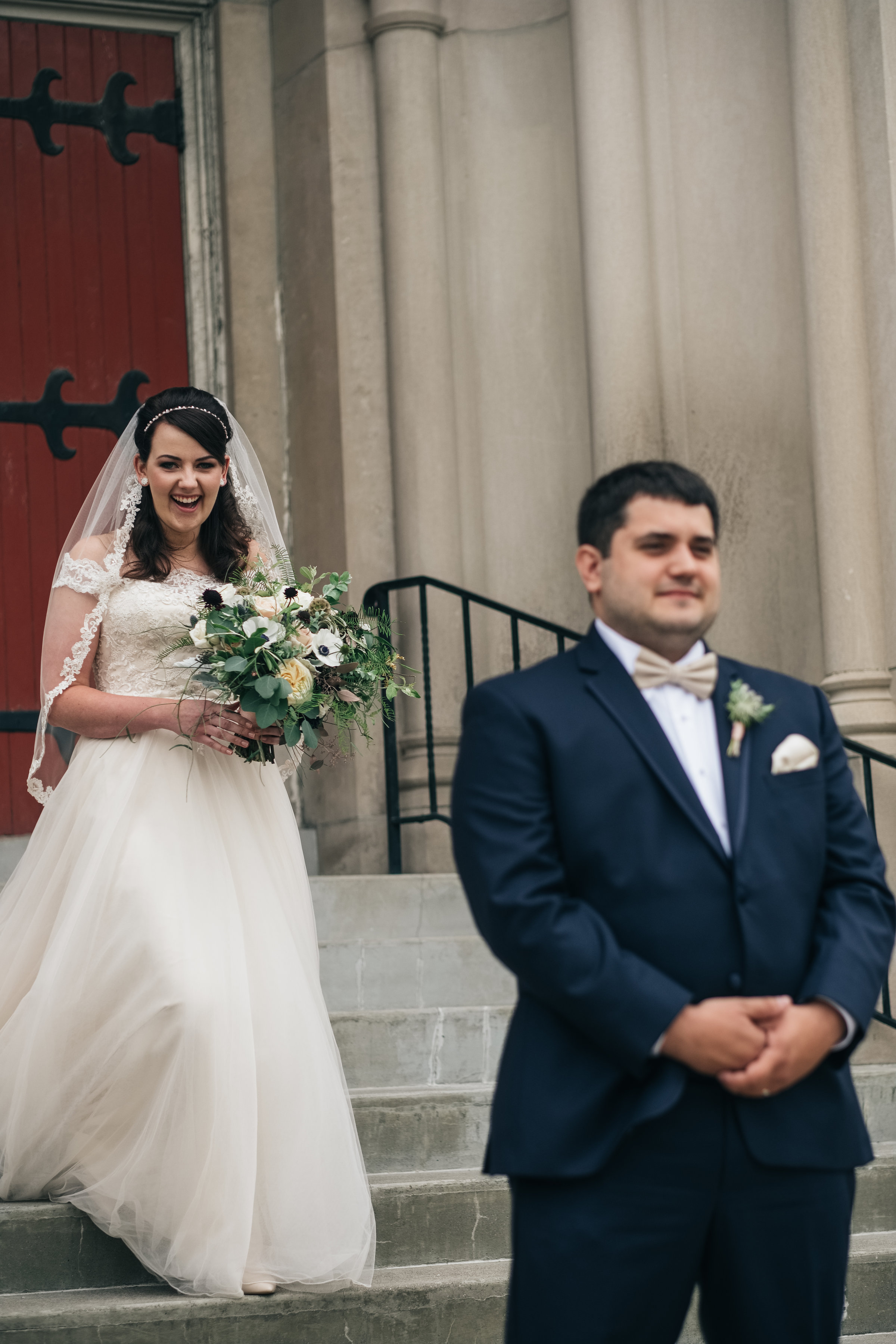 Bride and Groom During First Look in Toledo Ohio with Wedding Photographers