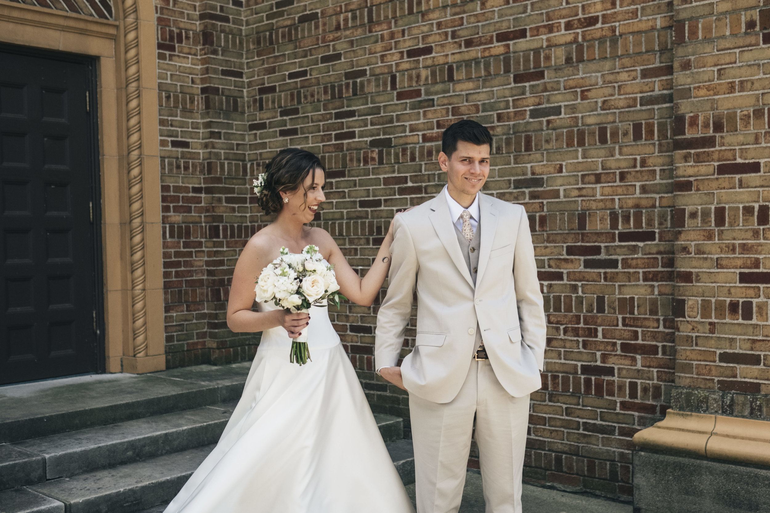 Photographers from Toledo Ohio Capture Couples First Look Before Wedding Ceremony