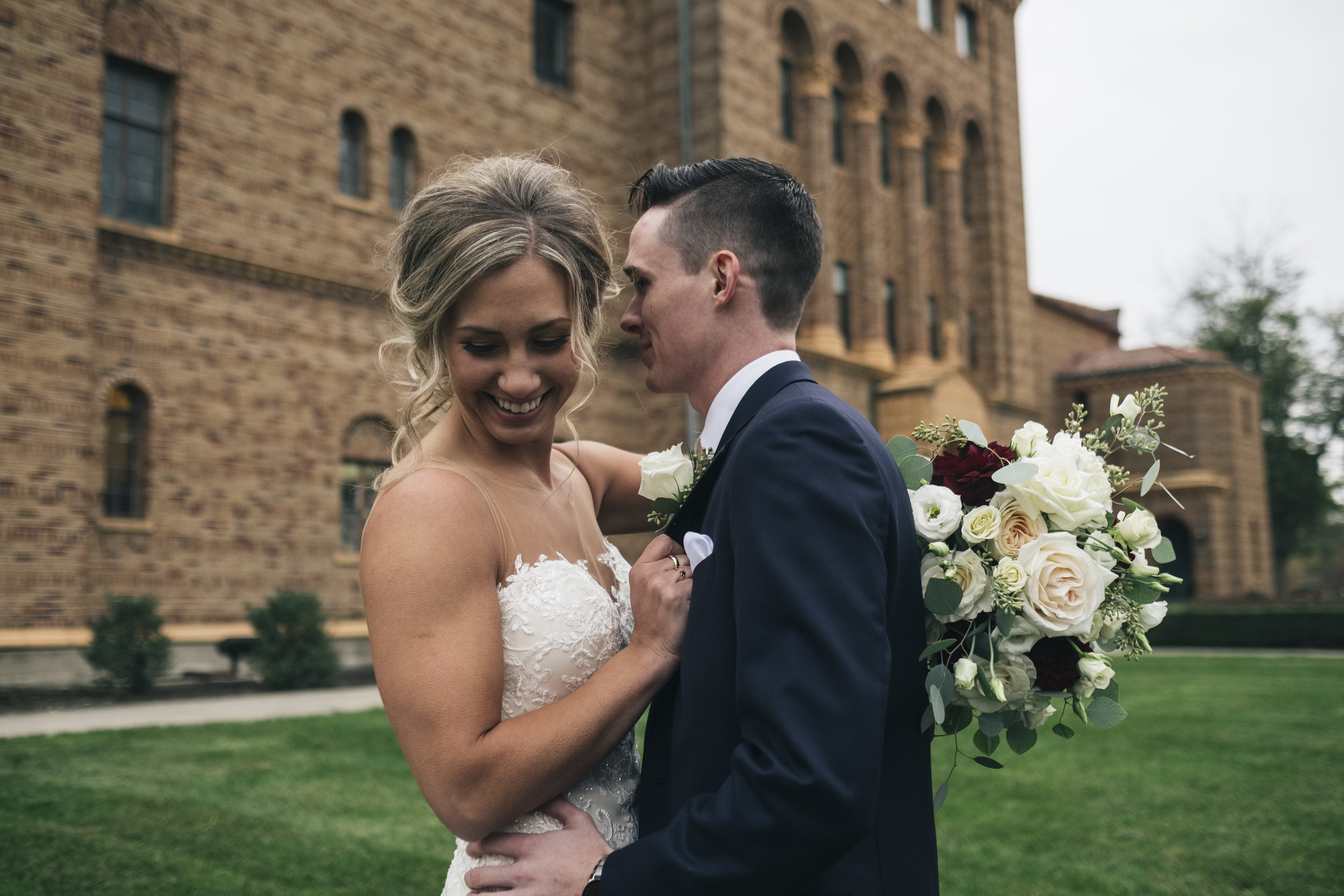 Wedding Photographers from Toledo Ohio and Couple on Wedding Day Sharing First Look Experience Before Ceremony