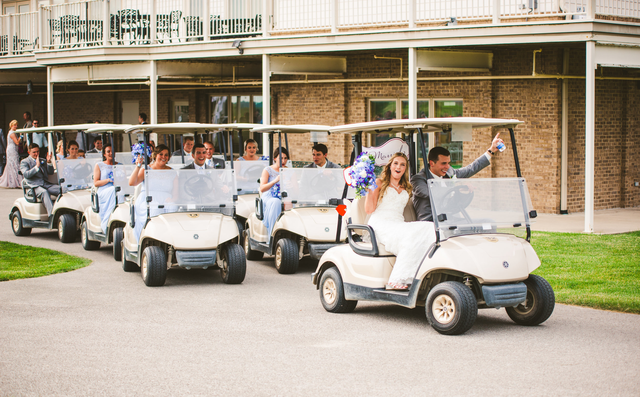 Bride and Groom Exit Ceremony with Toledo Ohio Wedding Photographers at Stone Ridge Golf Club