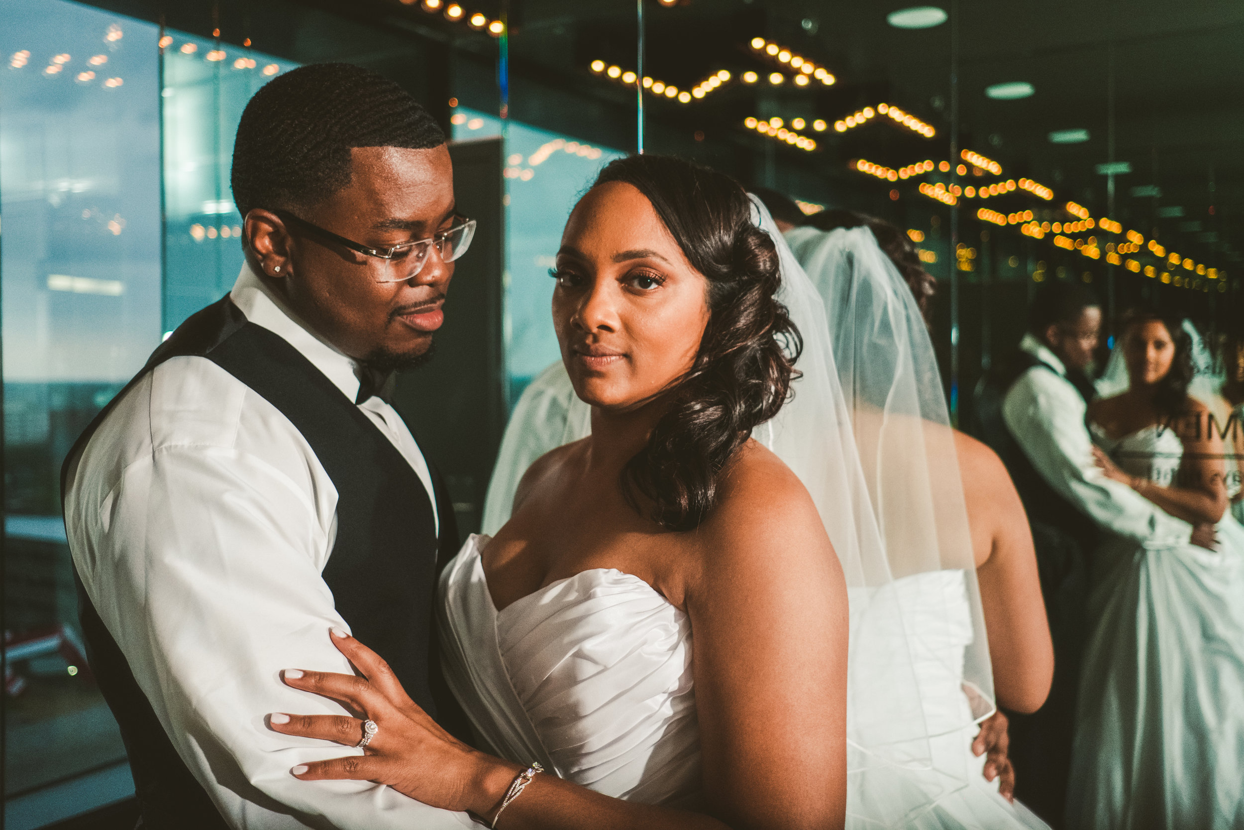 Bride and Groom at the Toledo Renaissance Downtown Hotel with Wedding Photographers from Ohio in the Heights for Creative Photos