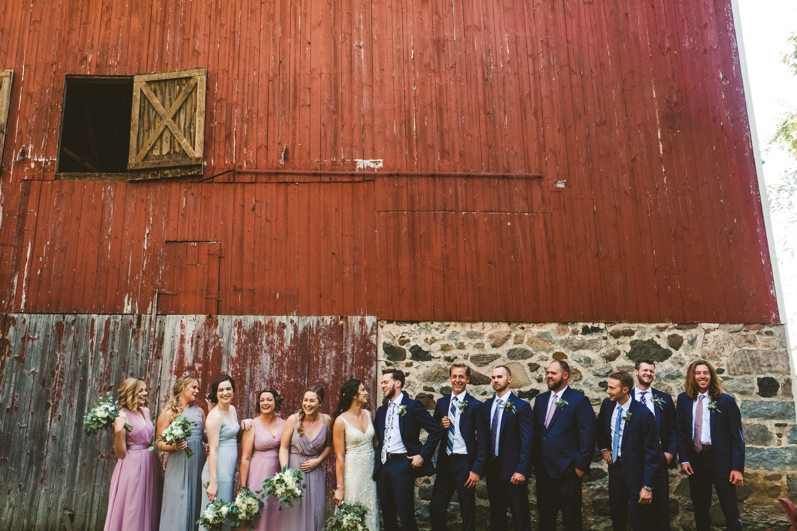 Toledo Ohio Destination Wedding Photographers at the Farm on Dover with Bridal Party from Wisconsin
