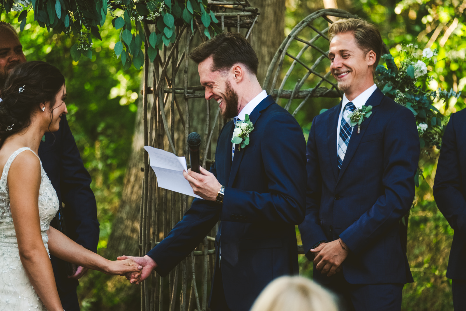 Groom Cries at Ceremony with Toledo Ohio Wedding Photographers in Wisconsin for Destination Wedding