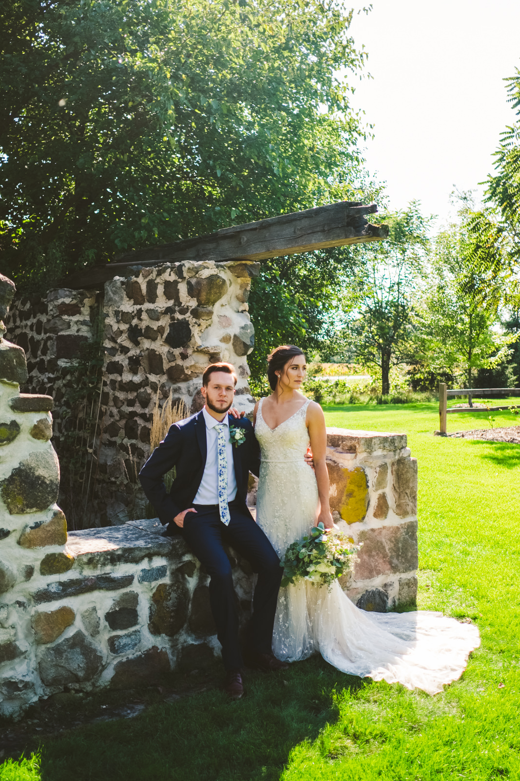 Bride and Groom at the Farm on Dover Pose with Toledo Photographers for Destination Wedding