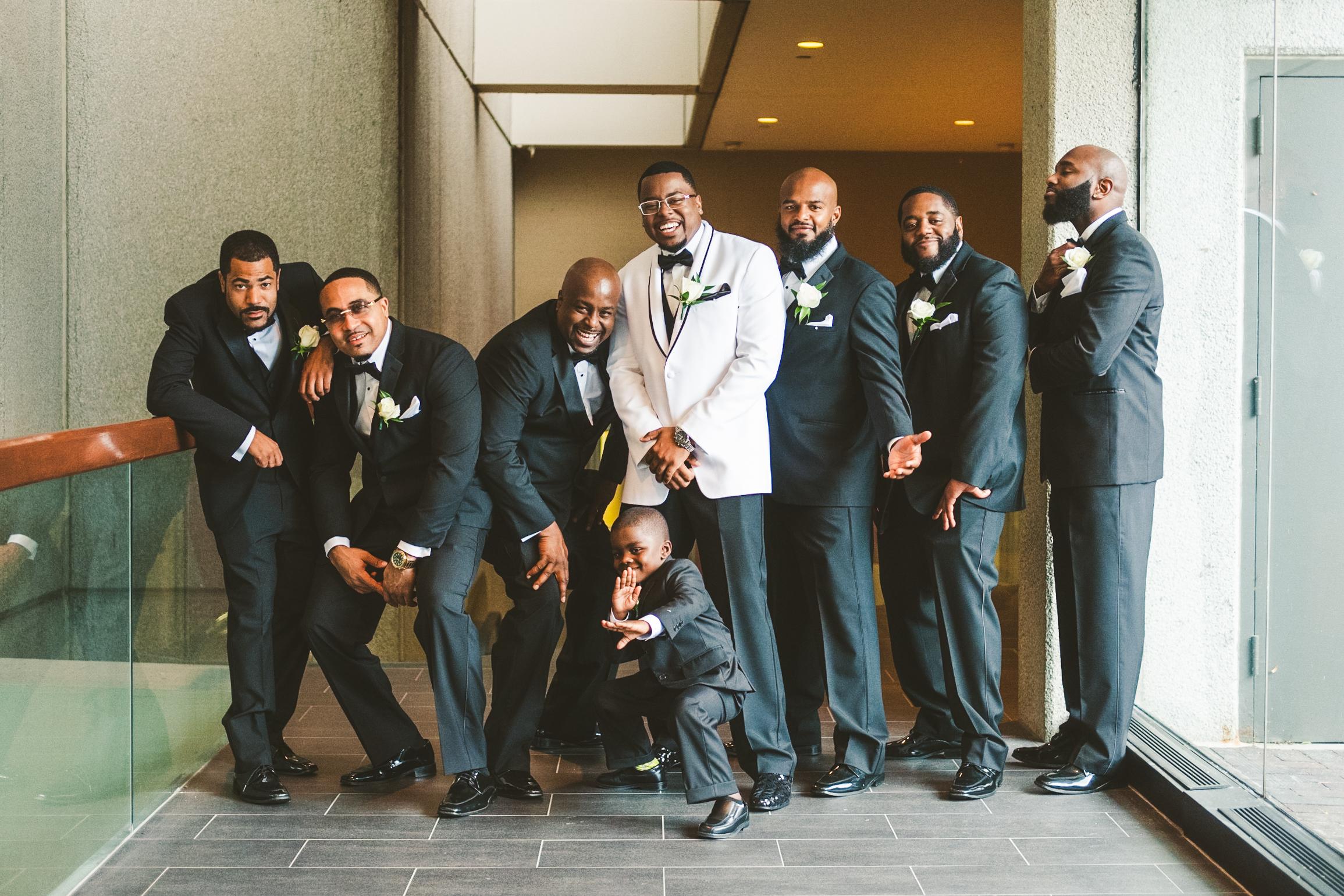 Groomsmen at the Toledo Ohio Renaissance Hotel Downtown with Wedding Photographers