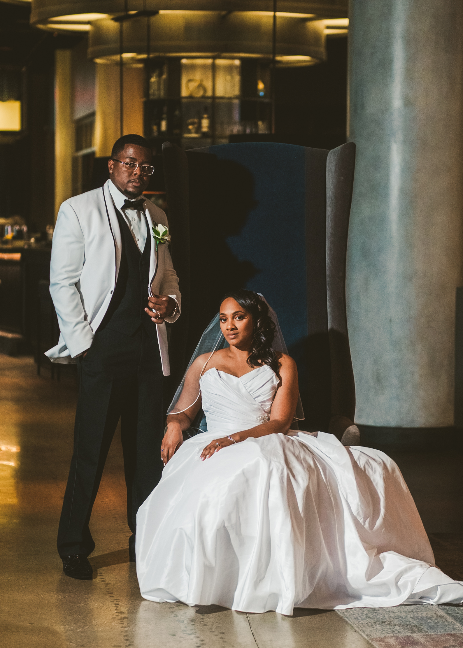 Downtown Toledo Renaissance Hotel with Wedding Photographers and Bride and Groom