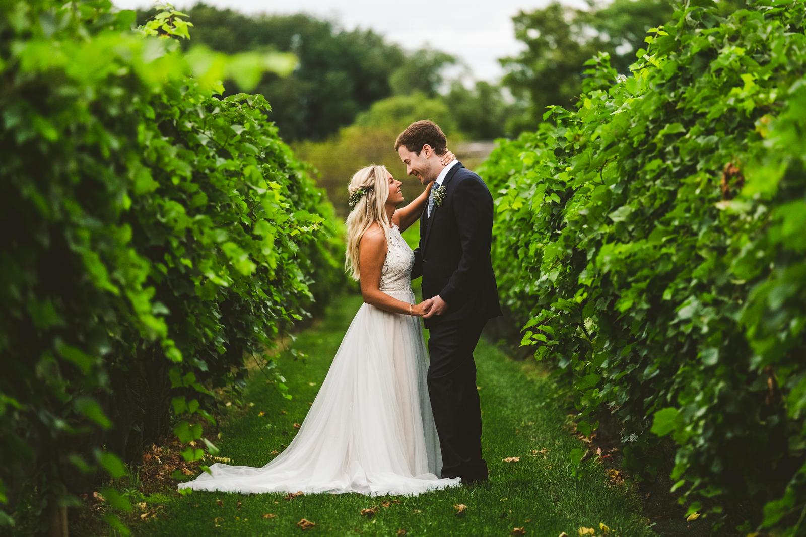 Bride & Groom on Wedding Day with Photographers from Toledo Ohio at Gervasi Vineyard