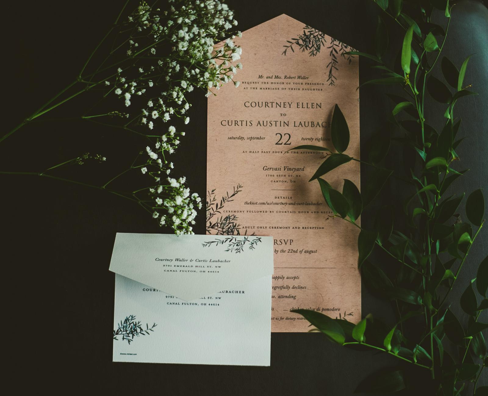 Invitation Suite for Canton Ohio Couple at Gervasi Vineyard with Toledo Ohio Wedding Photographers