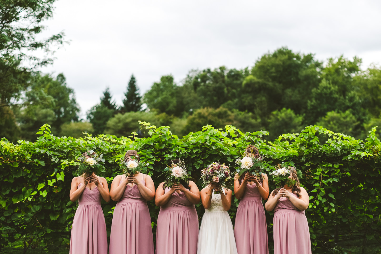 Toledo Ohio Wedding and Destination Photographers at Gervasi Vineyard with Bridesmaids before Ceremony