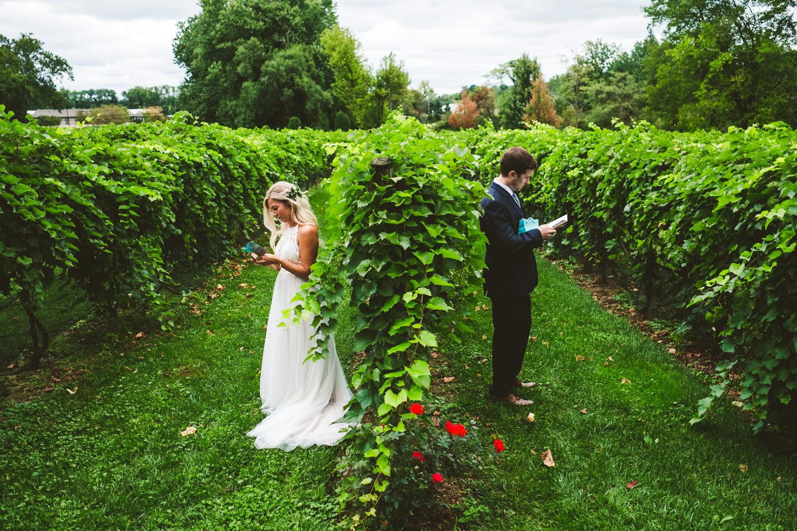 Cleveland Ohio Wedding Photographers with Bride and Groom at Gervasi Vineyard on Wedding Day
