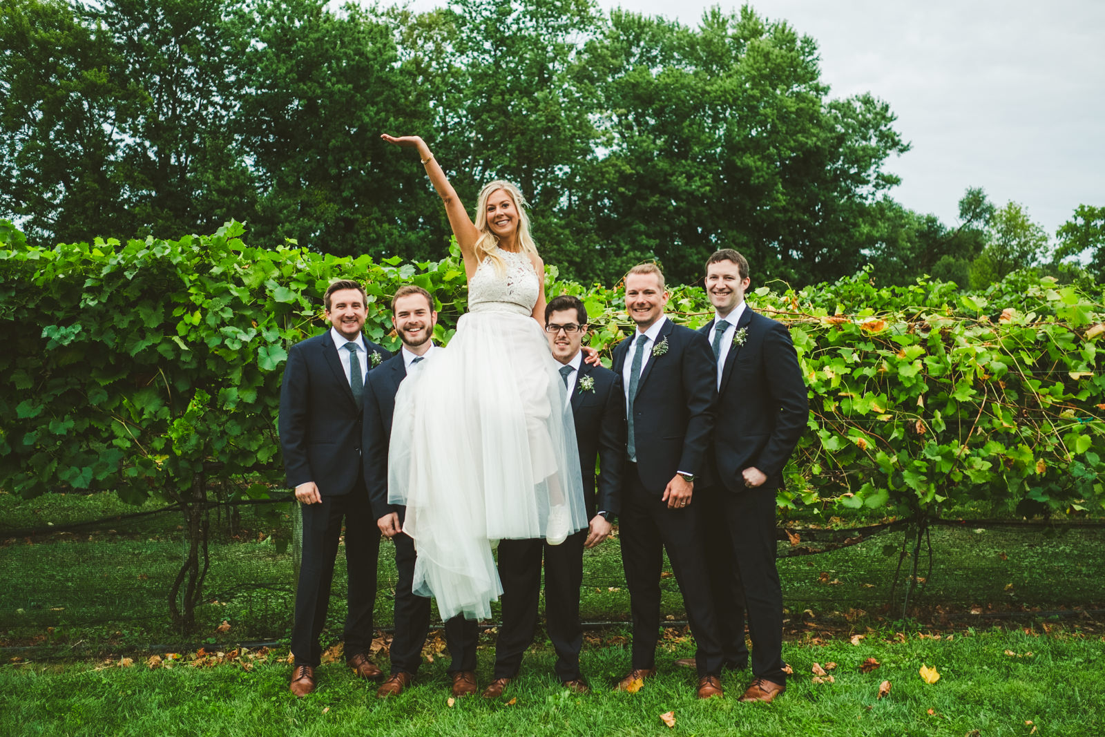 Bridal Party at Gervasi Vineyard with Toledo Ohio Destination Wedding Photographers