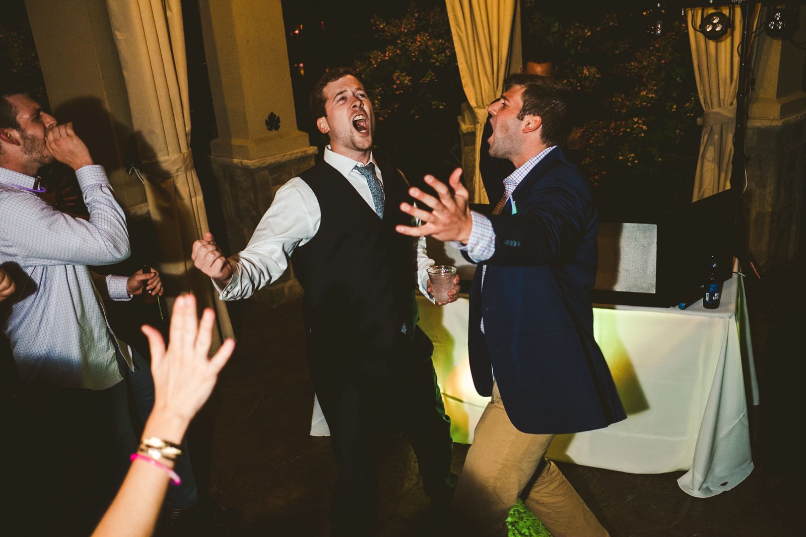 Groom Dances at Reception with Cleveland Ohio Destination and Wedding Photographers at Gervasi Vineyard