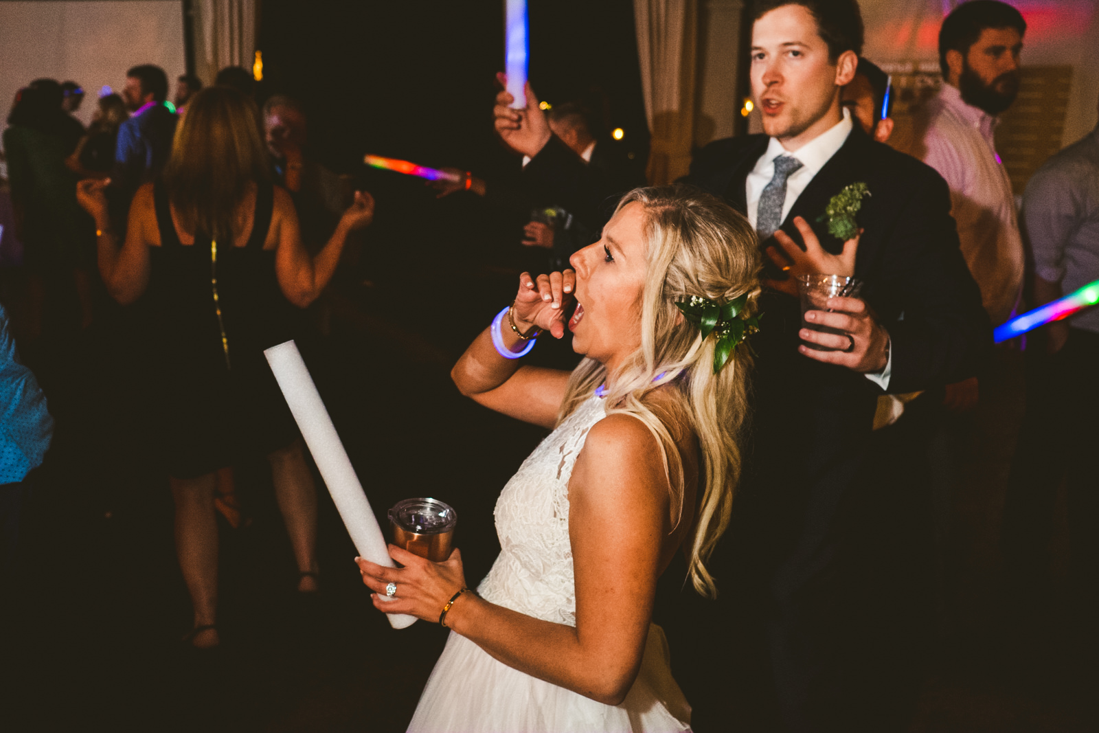 Bride at Gervasi Vineyard Wedding Reception with Toledo Ohio Wedding Photographers
