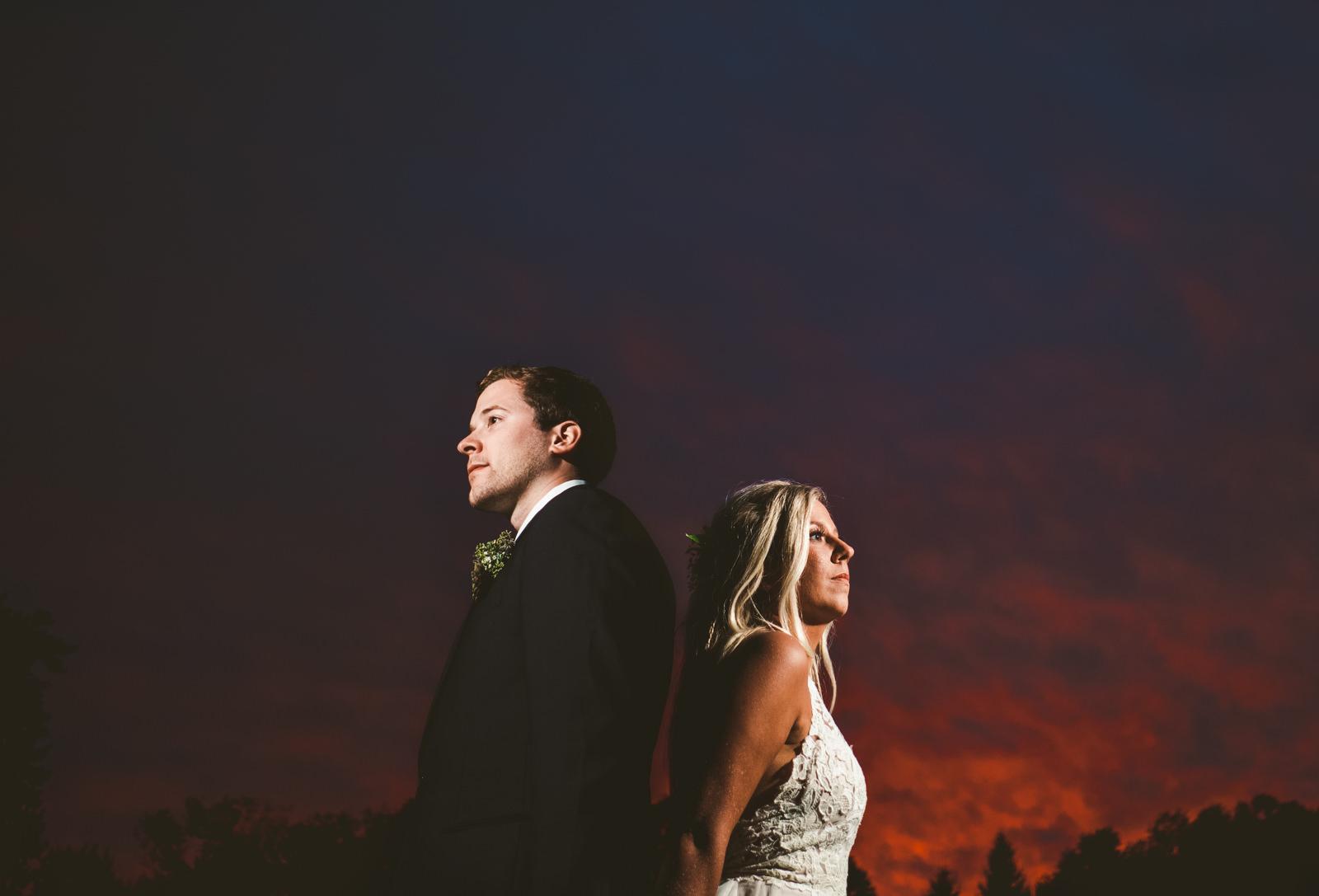 Cleveland Ohio Wedding Photographers at Gervasi Vineyard for Wedding with Toledo Couple at Sunset