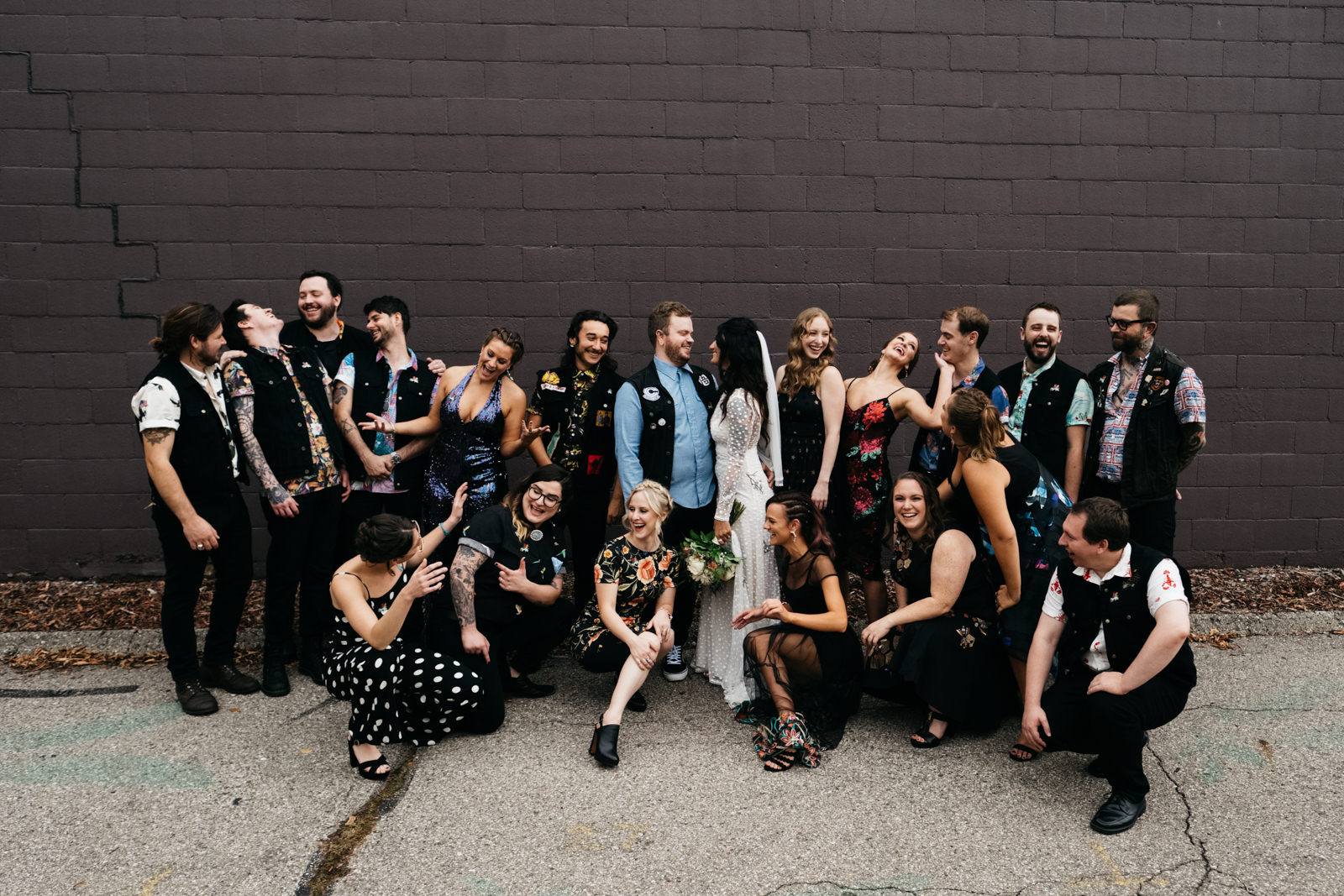 Bridal Party at Growing Hope Market Place with Ypsilanti Bride and Groom and Ohio Wedding Photographers