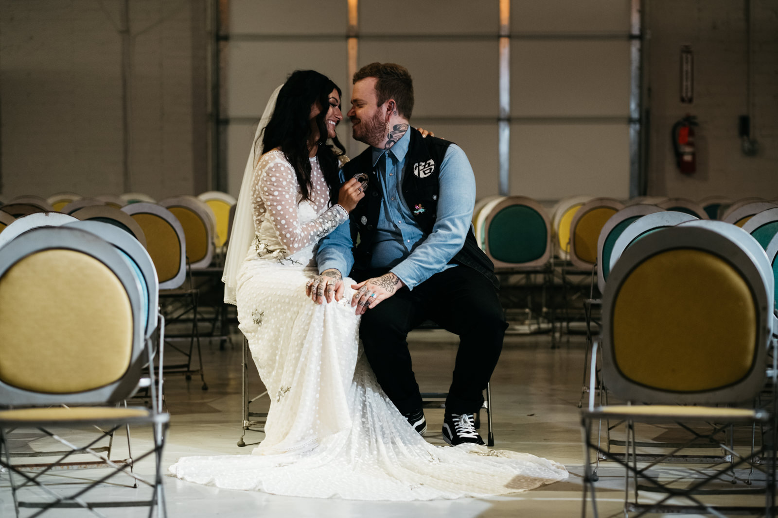 Bride and Groom at Growing Hope Market Place for Ceremony with Toledo and Southern Michigan Wedding Photographers