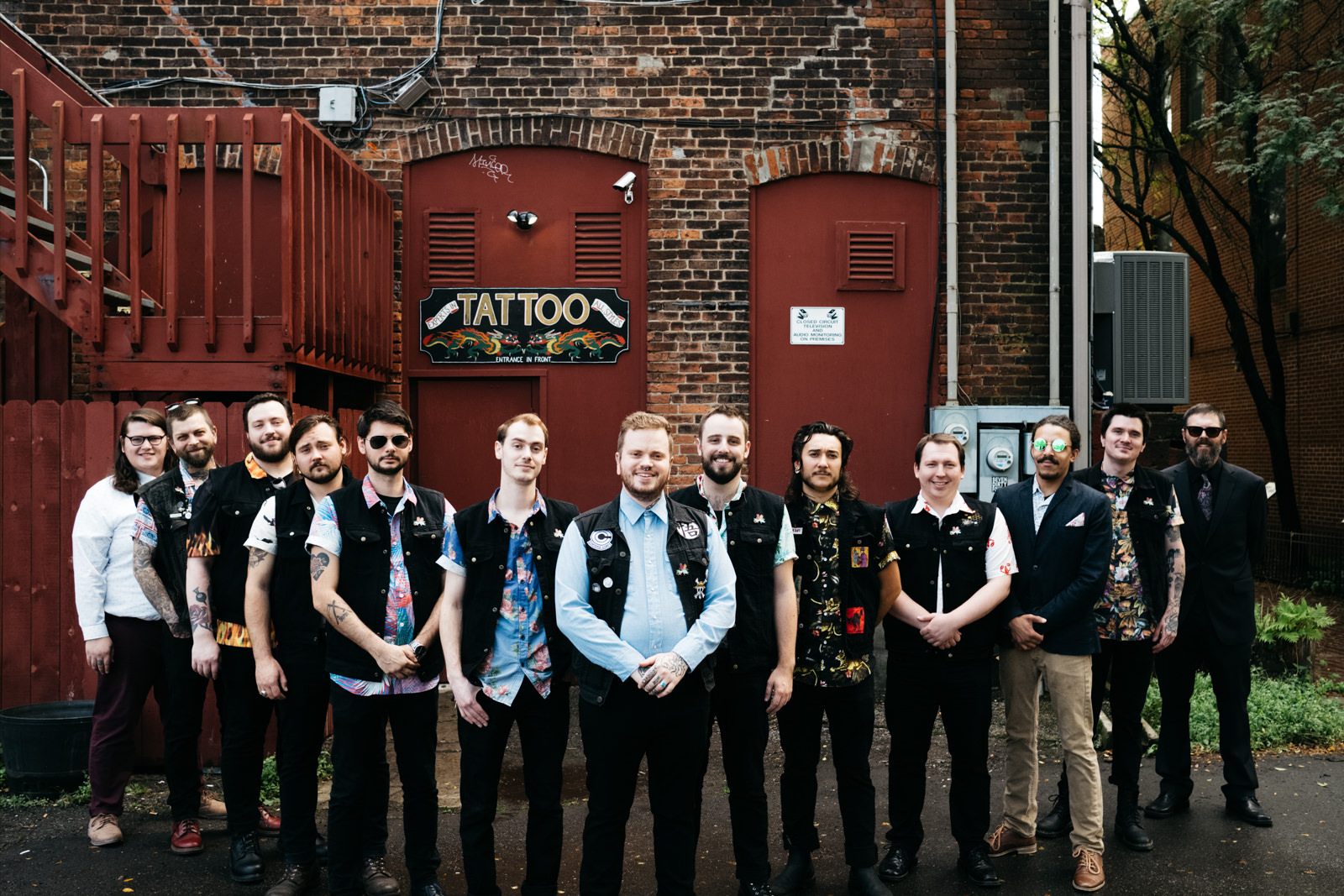 Groomsmen in Depot Town Ypsilanti Michigan with Toledo Ohio Wedding Photographers