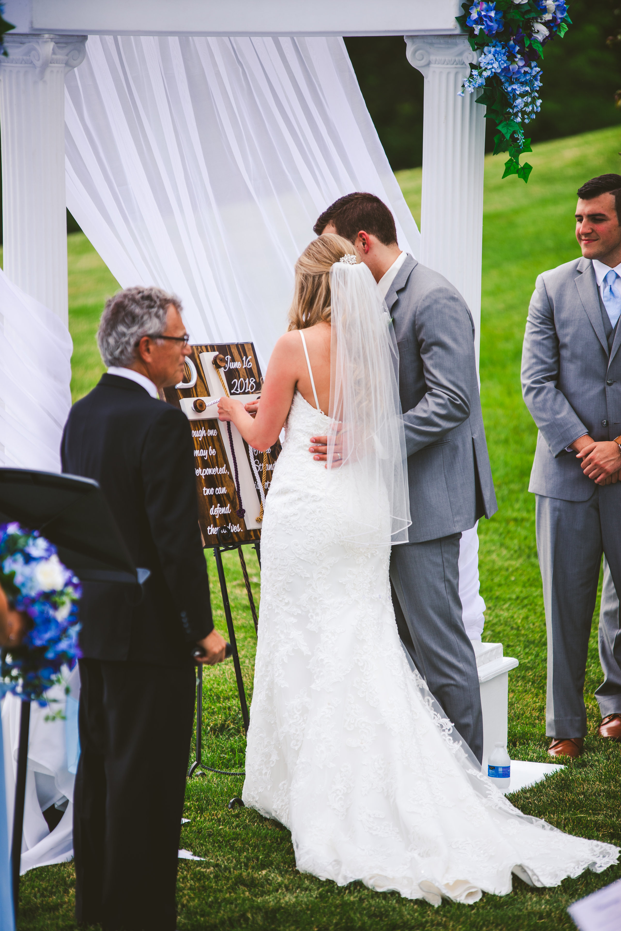 Bride and Groom at Stone Ridge Golf Club for Wedding Ceremony with Toledo Photographers