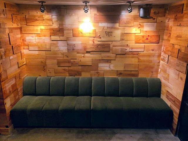 Very excited about the results on our new lounge for @oakleywines Look forward to our other addition of a new banquette in the coming weeks!