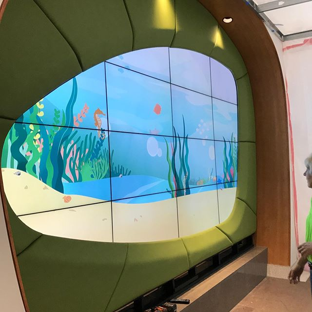 Very cool project for UK Children's hospital NICU lobby is done! It's an interactive video wall (we do more than just furniture!)that uses an Xbox Kinect to allow children to play and interact with the projected scenes.