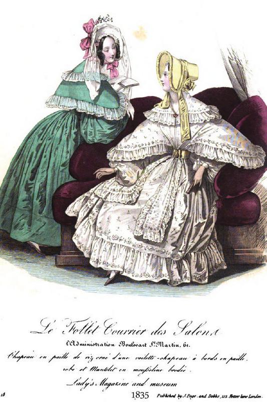 July 1835 walking dresses