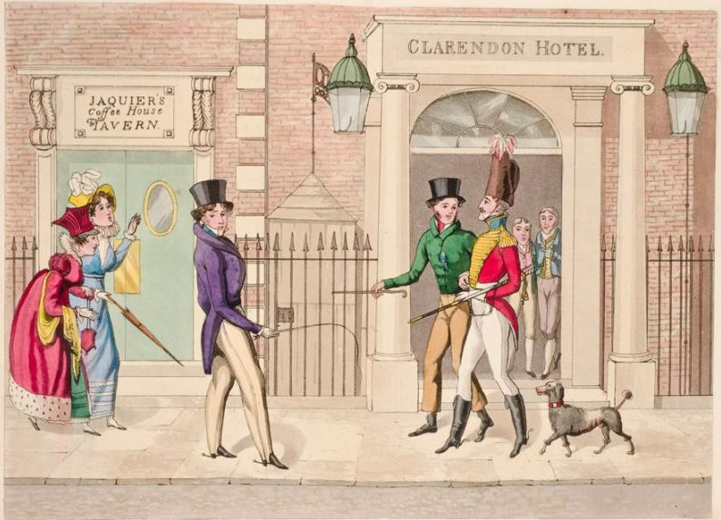 The Clarendon Hotel, pictured here, plays a crucial role in  A Duke in Shining Armor .  Image: Egerton,    The Leech   , from the Fashionable Bores series, 1824, courtesy Yale Center for British Art, Paul Mellon Collection.
