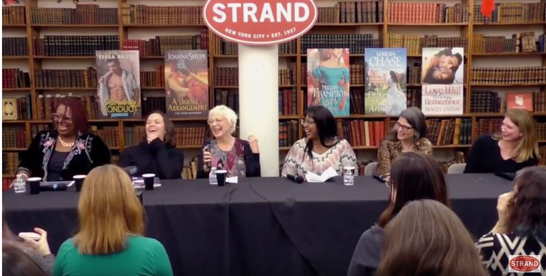 Still from the Strand video of our Romance & Respect panel. L-R: Denny S. Bryce (moderator), Tessa Bailey, Loretta Chase, Tracey Livesay, Megan Frampton, Joanna Shupe