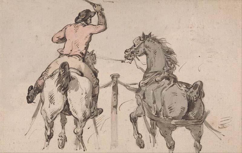 Thomas Rowlandson,    An English Postilion   , ca 1785, courtesy Yale Center for British Art, Paul Mellon Collection