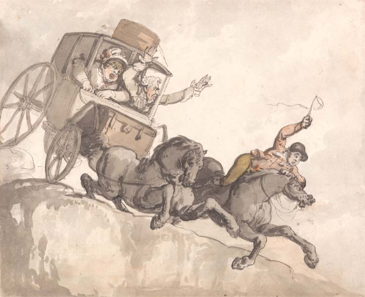 Thomas Rowlandson,    The Runaway Coach   , ca 1791, courtesy Yale Center for British Art, Paul Mellon Collection