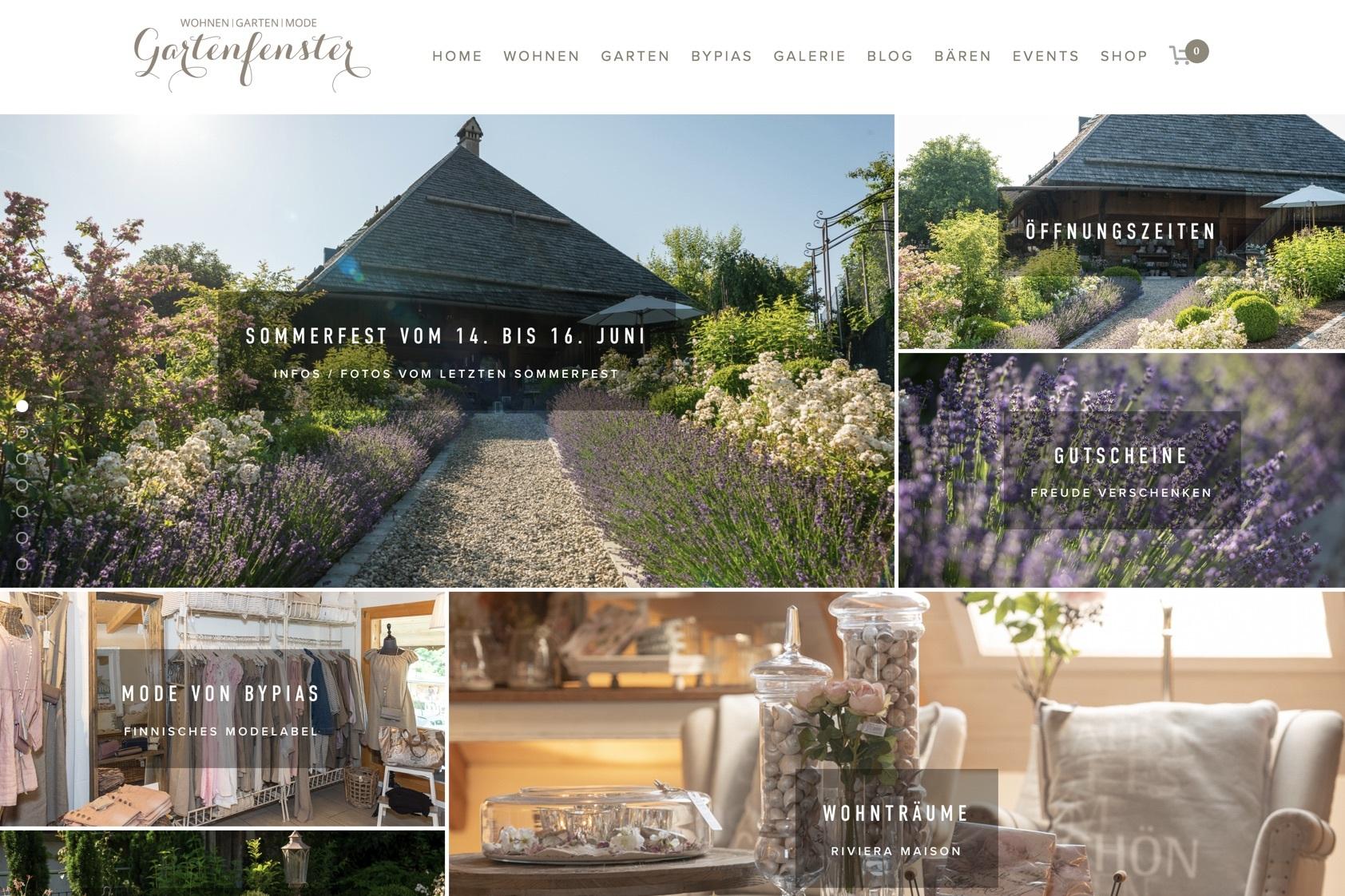 www.gartenfenster.ch - Webdesign & Reportagebilder