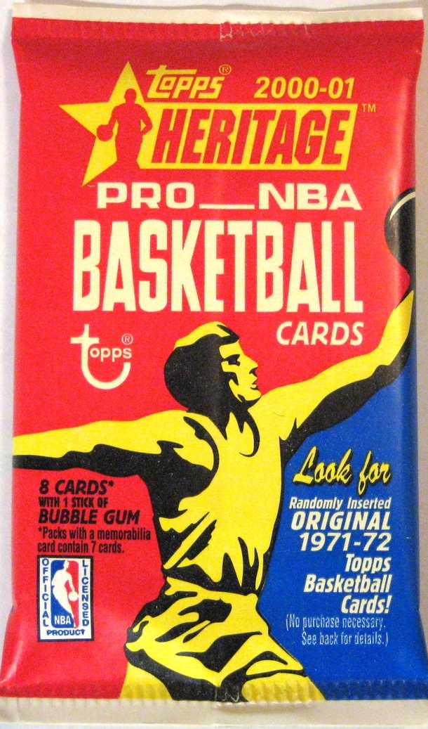 2000-01 Topps Heritage Basketball Pack: The packs from 99-00 and 00-01 are largely uninspired, so it's nice that Topps decided to do an homage to its 1971-72 pack. Interestingly, this is a paper pack rather than foil/plastic like they usually are, and these packs contain randomly inserted cards from 71-72. Very cool.