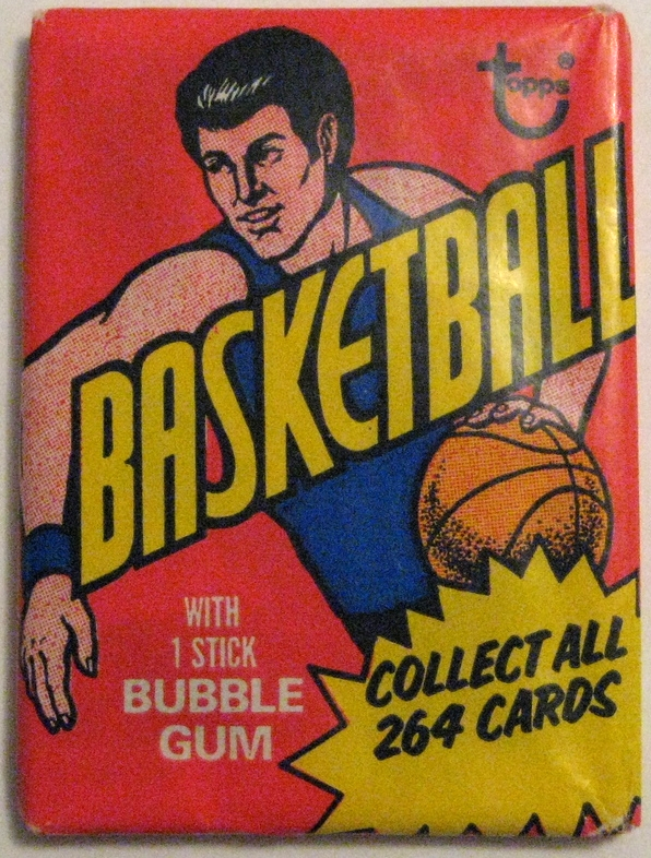 1974-75 Topps Basketball Pack: This pack is one of the less beautiful designs of the 1970s Topps packs, but still has a nice use of primary colours and simple design. Key cards include  Bill Walton's rookie card .