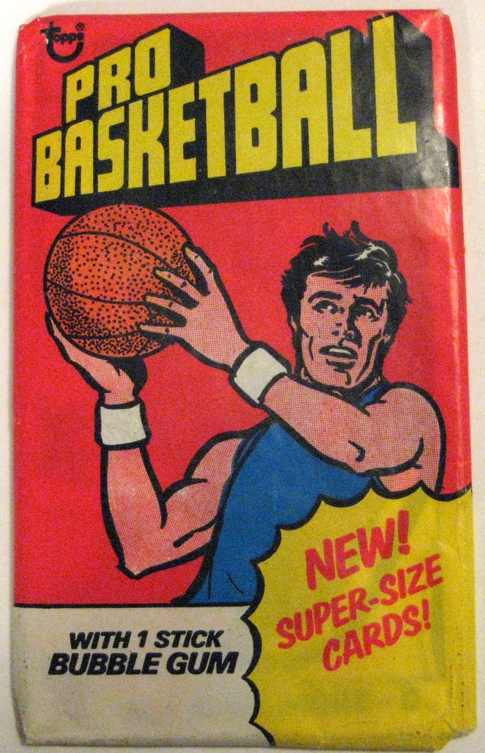 1976-77 Topps Basketball Pack: This is an interesting entry in the 1970s Topps series. This is a supersized pack that's about 50% taller and 50% wider than a standard pack. This series' key cards include  George Gervin  and  Dr J .