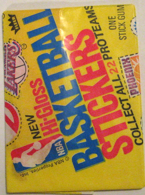 1976-77 Fleer Basketball Stickers: This pack is gorgeous, and features a number of team logos. The actual stickers themselves are pretty fun, too, with defunct or displaced teams like the  Buffalo Braves and  Kansas City-turned-Sacramento Kings .