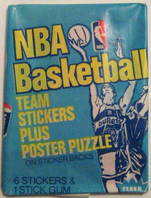 1978 Fleer Basketball Sticker Pack:  Very interesting light blue base colour for this pack. The stickers themselves seem to be  basically the exact same  as the rest of the fleer sticker packs, but the packs themselves are really incredible.