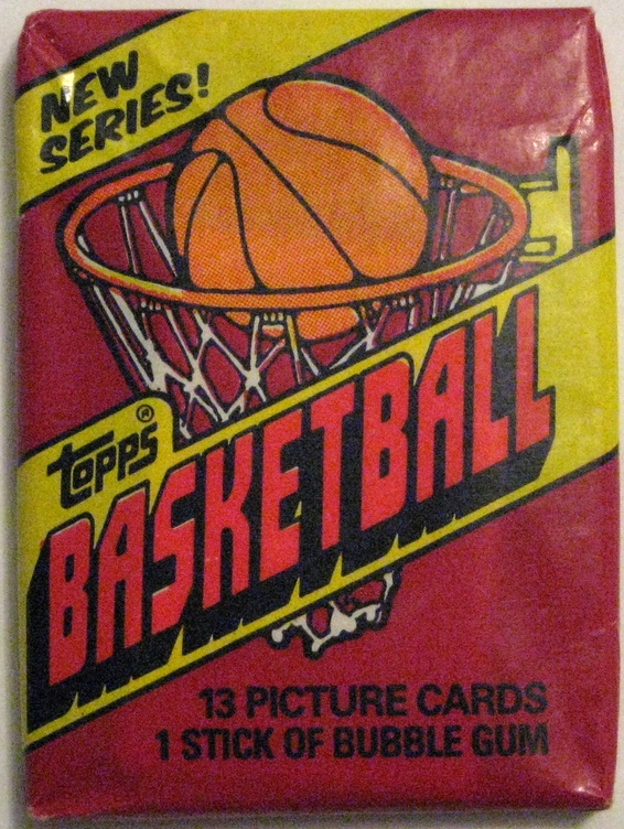 1981-82 Topps Basketball Pack: This is the last entry before Topps shut things down for a while (at least with basketball packs). The deep red seen here is rarely used in other packs, especially in this era. It makes this pack a standout design.  Key cards  here are the second year entries for Bird and Magic and Kevin McHale's rookie card.