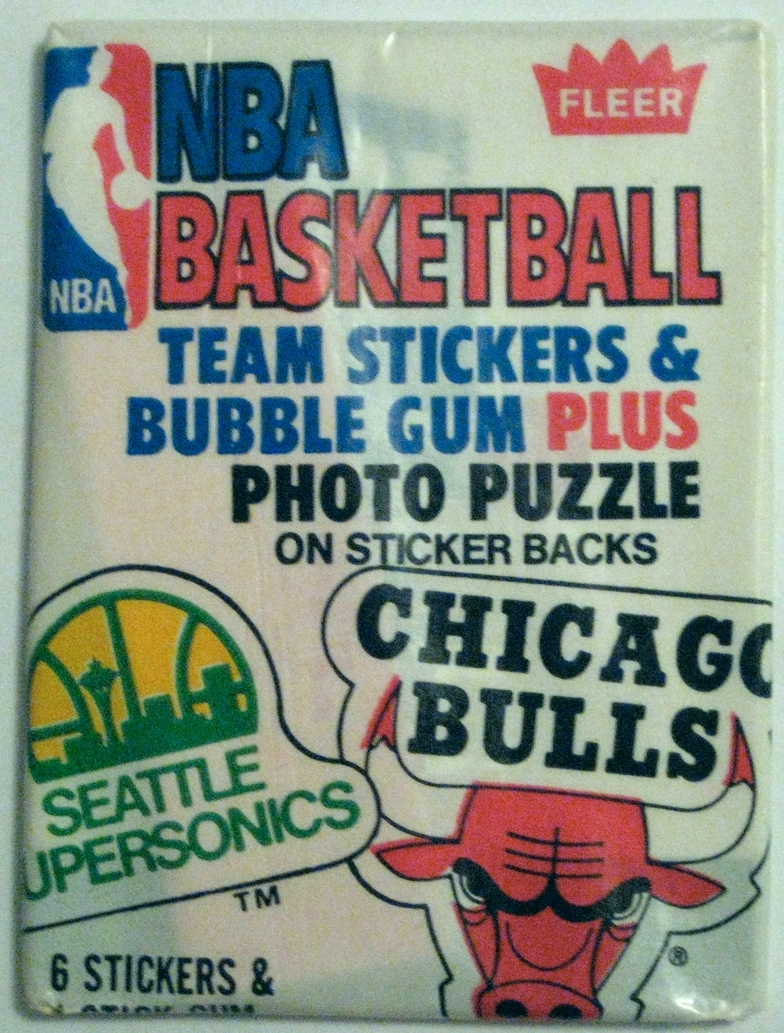1981-82 Fleer Sticker Basketball Pack: This simple beauty comes in two different designs. The other design has a Houston Rockets and Detroit Pistons logo rather than the Bulls and Sonics. This was the last Fleer Basketball pack released before they went on hiatus prior to launching the iconic  1986 Fleer Basketball Set .