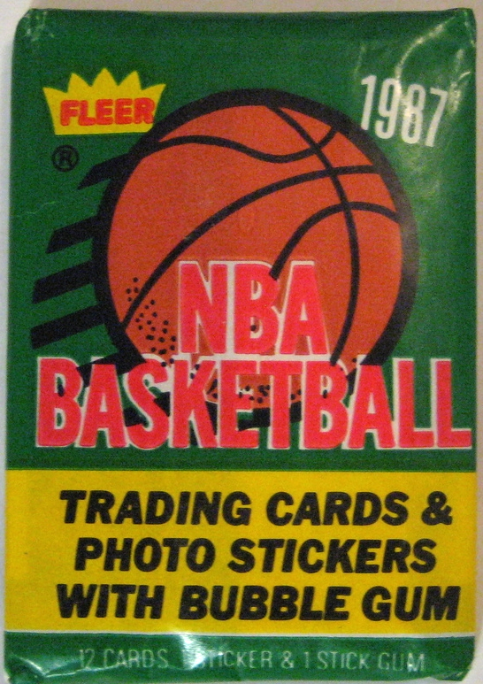 1987-88 Fleer Basketball Pack: Look at that green. Gorgeous, and widely under-used to this point in basketball packs. This followup to the iconic '86 set is another solid win all around.